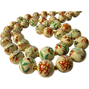 """White Chinese Porcelain Beaded Necklace with Hand Painted Birds and Butterflies, 21"""""""