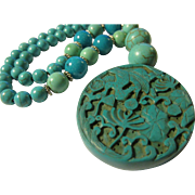 Crane in Lotus Garden Resin Pendant with Crackled Imitation Turquoise Bead Necklace, 19""