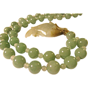 """Carved Chinese Green Jade Fish Charm-Pendant with Aventurine Bead Necklace, 28"""""""