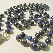 Mini Lapis Lazuli Beads on White Copper Link Chain Necklace, 36""