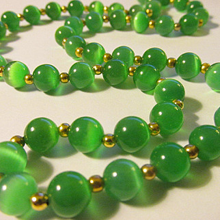 Luminous Emerald Green Cat's Eye Gemstone Bead Necklace, 24""