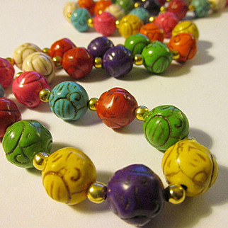 Hand Carved Rainbow Stone Bead Necklace, 26""