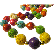 """Hand Carved Rainbow Stone Bead Necklace, 26"""""""