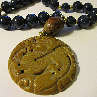 Carved Chinese Dragon Mookaite Pendant with Lapis Lazuli and Tibetan-Style Dzi Bead Necklace, 20""