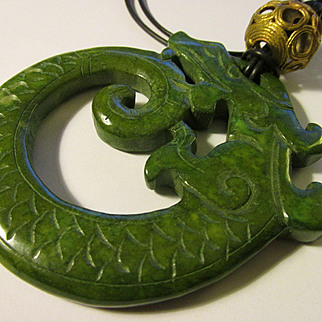 Chinese Green Jade Dragon Pendant on Black Pleather Cording with Copper Coil Bead Accent, 23""