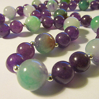 Tri-Color Jade and Purple Gemstone Bead Necklace, 24""
