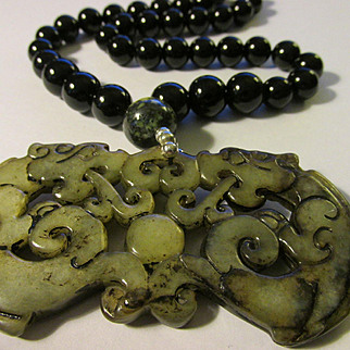 Fire-Breathing Dragons Carved Jade Pendant with Black Onyx Bead Necklace, 22""