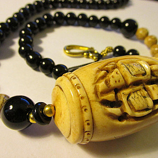 Hand-Carved Turtles on Bone Bead with Jasper and Jet Black Onyx Bead Necklace, 23""