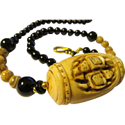 """Hand-Carved Turtles on Bone Bead with Jasper and Jet Black Onyx Bead Necklace, 23"""""""