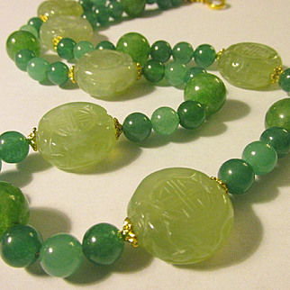Chinese Green Jade Flat Shou Coin Charms with Green Jade Bead Necklace, 24""