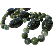"""Midnight Blue Carved Ethnic Gemstone Beads with Matching Round Bead Necklace, 21"""""""