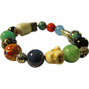 Jade-Chinese Cloisonne-Ceramic-Mixed Gemstone Bead-Vintage Silver Tone Charms Expandable Bracelet