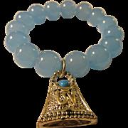 Sky Blue Gemstone Bead with Tibetan Silver Tone Charm Expandable Bracelet, One Size