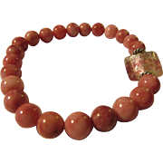 Pink and White Rhodonite Gemstone Bead Expandable Bracelet with Silver Foil Glass Charm
