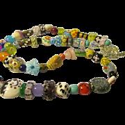 "Artsy Multi-Colored Peking Glass-Gemstone Bead Necklace, 27"""