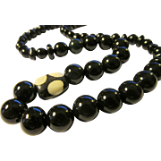Black Agate Bead Necklace with African Bone Bead Accent, 18""