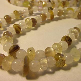 "Mini Jade and Gemstone Bead Necklace, 37"""