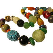 """Exotic Beads and Charms of the World Necklace, 32"""""""