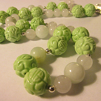 """Dyed Mint Green Chinese Turquoise Shou Bead Necklace with White Jade, 26"""""""