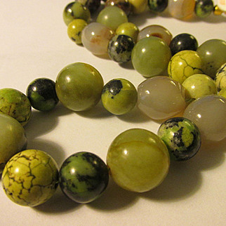 "Oriental Natural Gemstone Orbs Beaded Necklace, 20"""