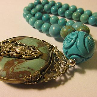 "Tibetan Silver Filigree Kwan Yin-Dragon-Phoenix Pendant with Turquoise Bead Necklace, 19"""