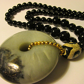 """Chinese Jade Donut Pendant with Tibetan Dzi and Black Agate Bead Necklace, 24"""""""