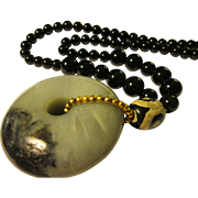 Chinese Jade Donut Pendant with Tibetan Dzi and Black Agate Bead Necklace, 24""