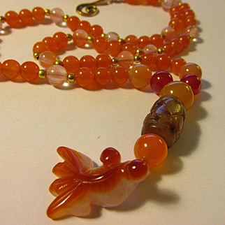 """Baby Goldfish-Koi Charm with Carved Jade-Agate-Tourmaline Bead Necklace, 26"""""""