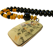 Vintage Chinese Pottery Shard Pendant with Black Onyx and Yellow Topaz Bead Necklace, 21""