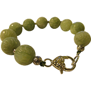 """Chinese Celadon Green Jade Bead Bracelet Carved with Lotus Blossoms, 9 1/2"""""""