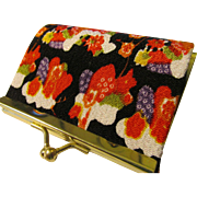 Japanese Sakura Floral Vintage Kimono Fabric Coin Purse with Pinch Closure - Red Tag Sale Item