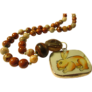 Chinese Porcelain Rabbit Shard Pendant with Red River Jasper-Jade-Dzi Bead Necklace, 23""