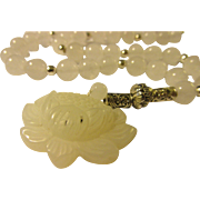 White Jade Lotus Blossom Charm-Pendant with White Jade Bead Necklace, 16""