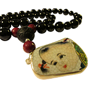 """Vintage Chinese Pottery Shard with Black Onyx Agate Bead Necklace, 20"""""""