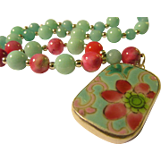 """Vintage Chinese Pottery Shard Floral Pendant with Aquamarine Bead Necklace, 24"""""""