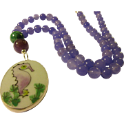 Seahorse Pottery Shard Pendant with Lavender Gemstone Bead Necklace, 22""