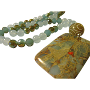Sea Sediment Jasper Pendant with Blue Gemstone and Crystal Bead Necklace, 26""