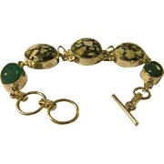 """Fabricated Copper Turquoise Stone Link Bracelet, 7 1/2"""""""