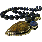 "Artisan Multi-Gemstone Pendant with Lapis Lazuli Bead Necklace, 24"""