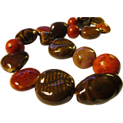 """Chunky Handmade Coco Brown Ceramic Bead Necklace with Red Grass Coral Accents, 21"""""""