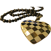 """Mother-of-Pearl Heart Pendant with Checkered Inlaid Motif and Fossil Jasper Bead Necklace, 24"""""""