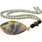 Floral Pottery Shard Pendant with Vintage Japanese Blue Glass Bead Necklace, 27""