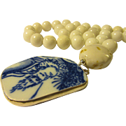 Old Bearded Wise Chinese Sage Pottery Shard Pendant with White Snow Quartz Bead Necklace, 20""