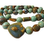 Turquoise Magnesite Beads with Handcrafted Ceramic Components Necklace, 28""