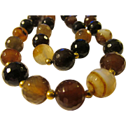 Sparkling Faceted Multi-Tone Agate Gemstone Bead Necklace, 20""