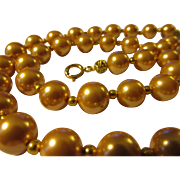 Creamy Champagne-Colored Glass Pearl Necklace with 14-K GF Spacers, 21""