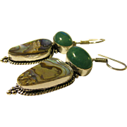 Natural Abalone Seashell and Green Gemstone Earring