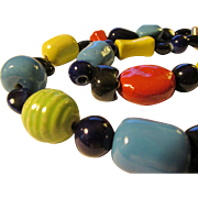 Scarlet Red-Sky Blue-Sunny Yellow Spectacular Chunky Ceramic Bead Necklace, 21""