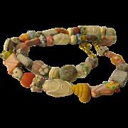 """Artsy, Fartsy Vintage Peking Glass Fantasy Bead Necklace, 26"""""""