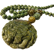 Speckled Greed Jade Kwan Yin Pendant with Green Tree Jasper Bead Necklace, 26""